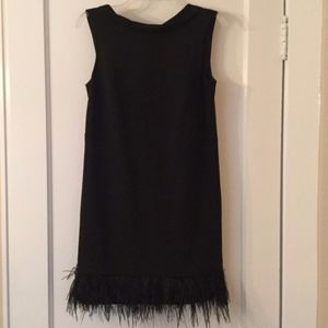 Ann Taylor Black Cocktail Dress with feather trim
